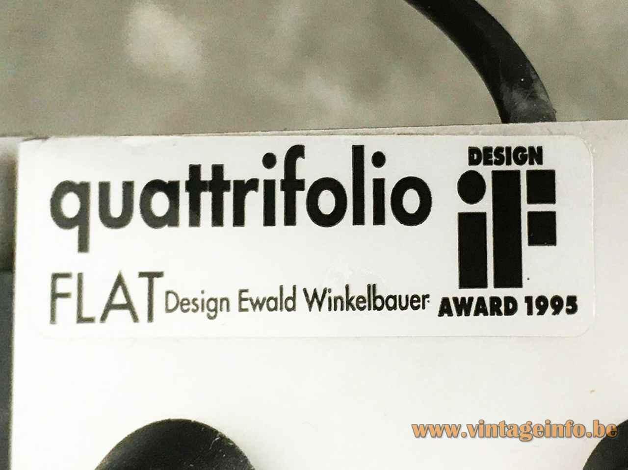 Quattrifolio Flat table lamp 1995 design: Ewald Winkelbauer Italy label