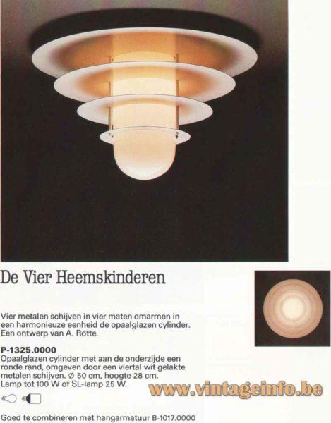 Raak four sons of Aymon flush mount - 1982 catalogue picture - De Vier Heemskinderen model P-1325.0000