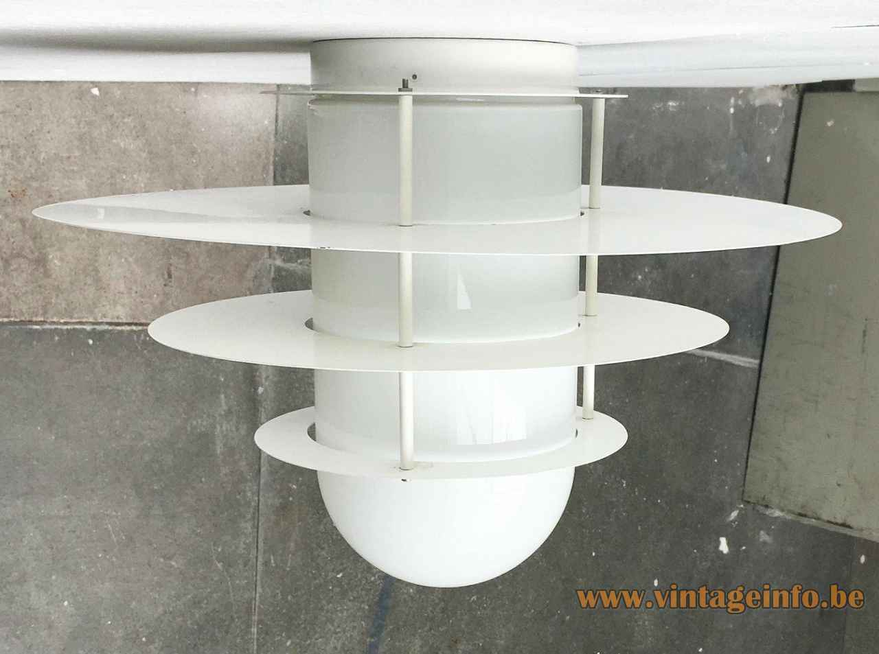 Raak four sons of Aymon flush mount round metal discs lampshade opal glass diffuser 1970s 1980s