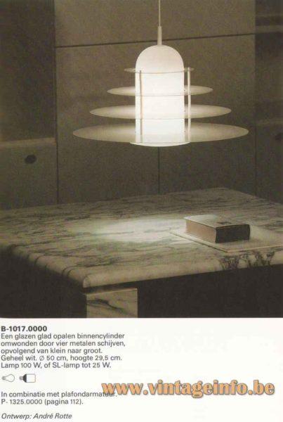 Raak four sons of Aymon pendant lamp - 1982 catalogue picture - De Vier Heemskinderen model B-1017.0000
