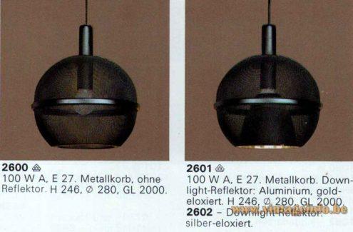 Roger Tallon ERCO pendant lamp 1975 design 1976 catalogue picture Germany models 2600 2601 2602