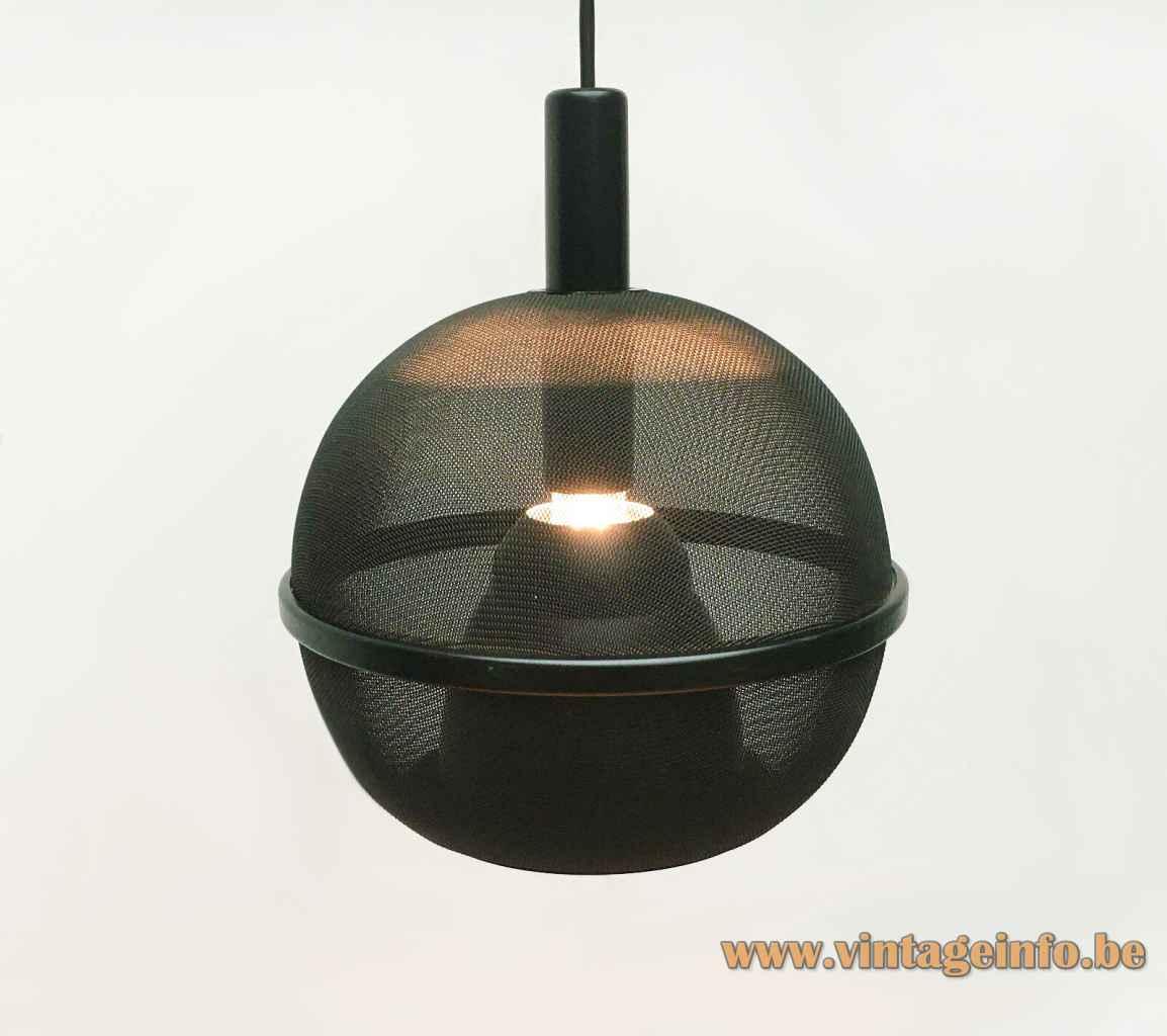 Roger Tallon ERCO pendant lamp black gauze globe lampshade aluminium chrome reflector 1970s Germany E27 socket