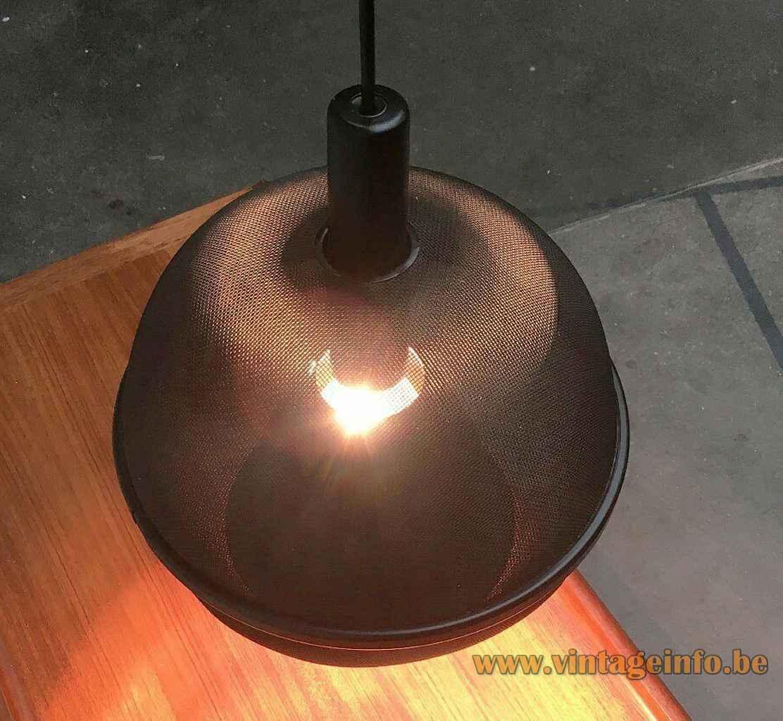 Roger Tallon ERCO pendant lamp black gauze globe lampshade aluminium chrome reflector 1970s Germany top view