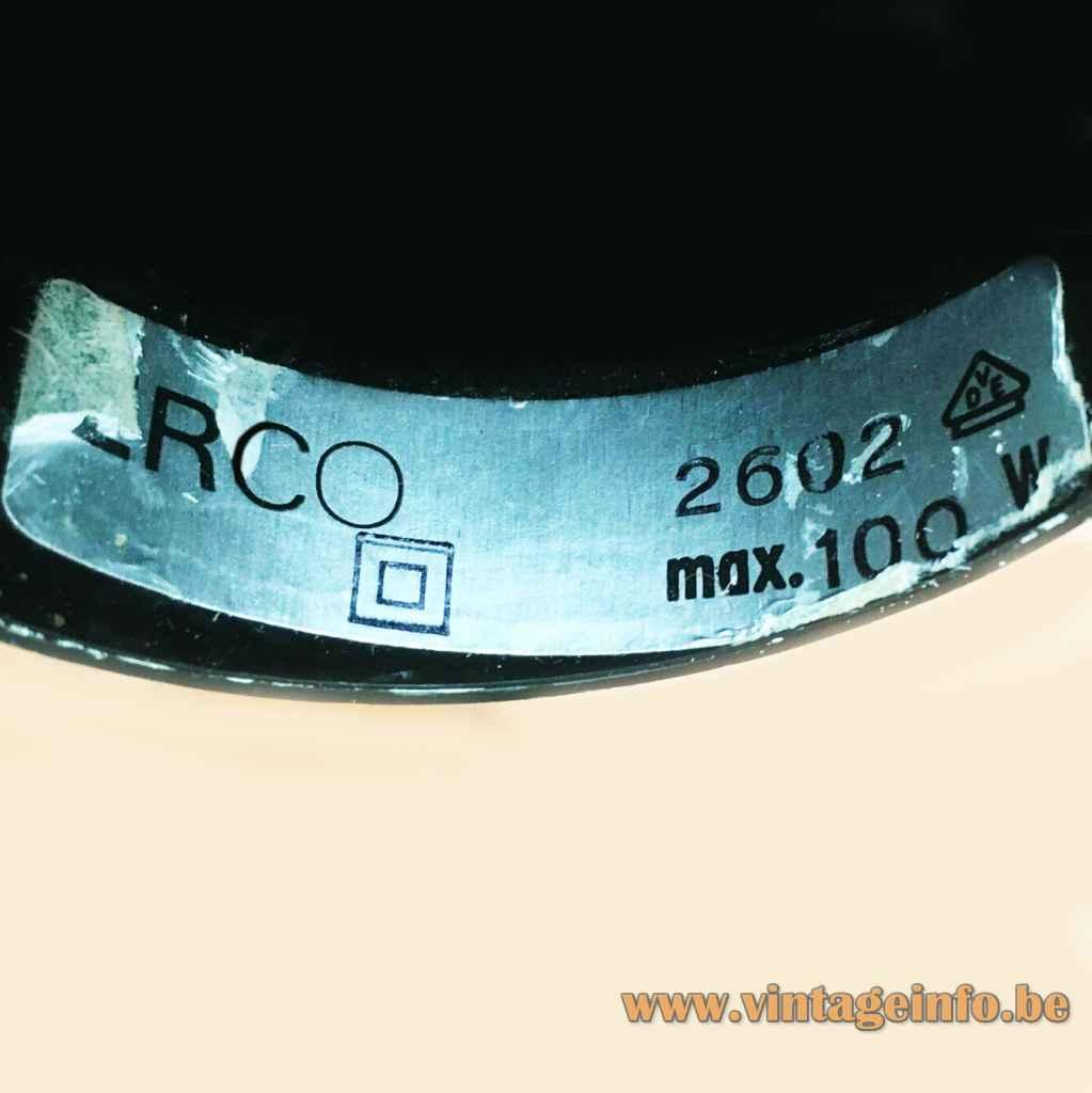 Roger Tallon ERCO pendant lamp 2602 label 1970s Germany E27 socket Maximum 100 Watt