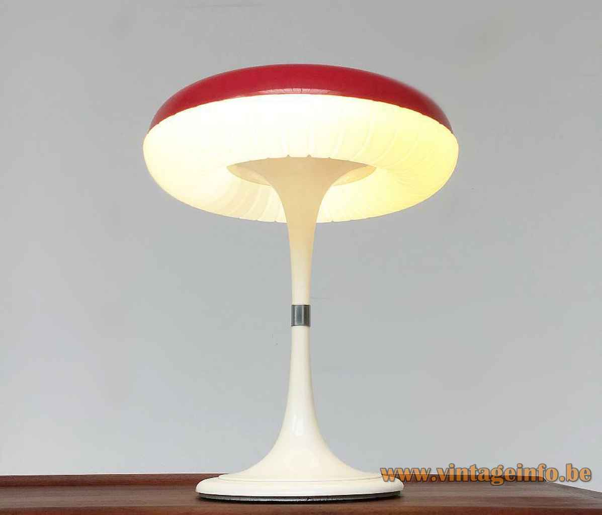 Siemens Siform table lamp round white plastic base & rod red mushroom lampshade 1970s Germany circular-fluorescent tube