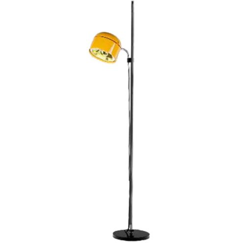 Staff Duo floor lamp black base chrome rod yellow plastic lampshade 1970s design: Arnold Berges Germany