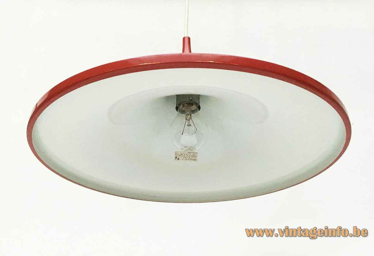 Staff pendant lamp 5480 conical round metal lampshade white grid diffuser 1960s design: Rolf Krüger Germany