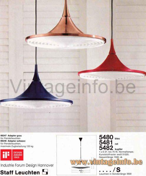 Staff Pendant Lamp 5480, 5481, 5482 - Catalogue Picture