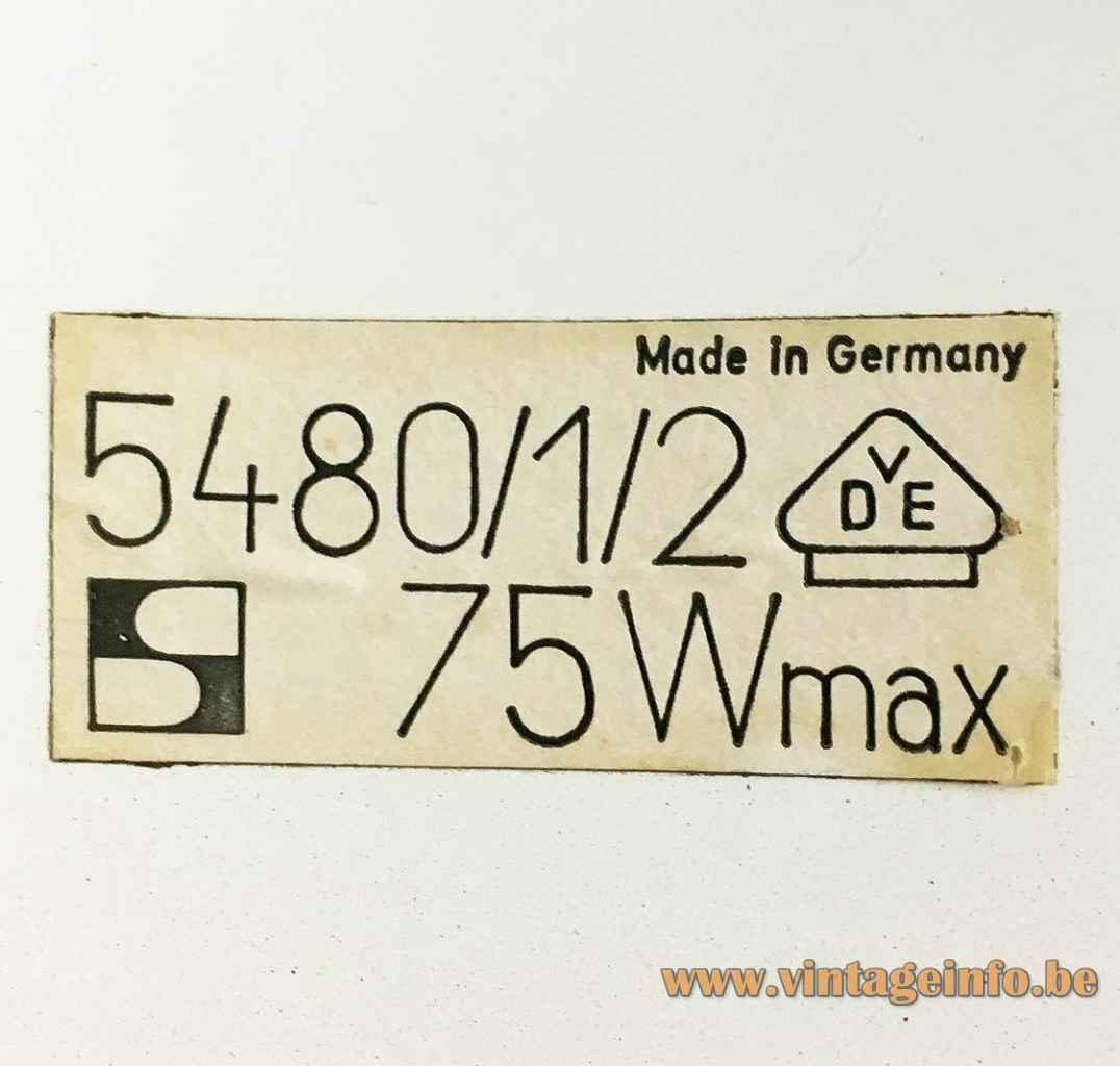 Staff Pendant Lamp 5480, 5481, 5482 Label