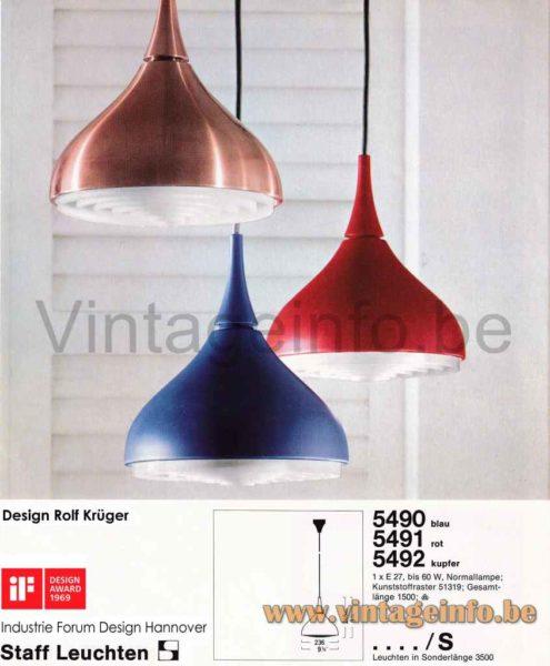 Staff Pendant Lamp 5490, 5491, 5492 - Catalogue Picture