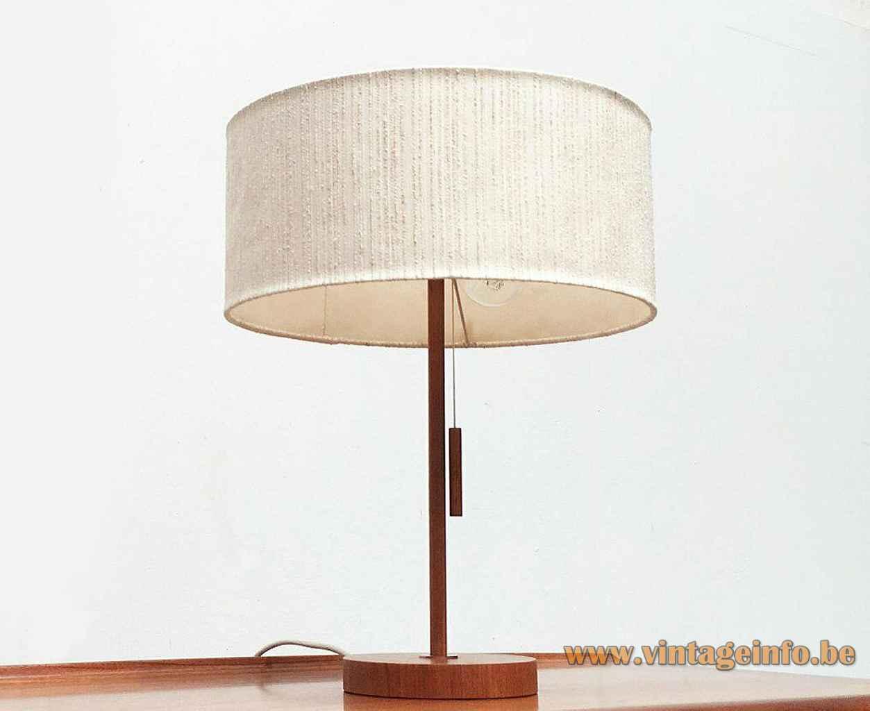 Temde teak table lamp round wood base & rod fabric lampshade 1960s Germany 2 E27 sockets