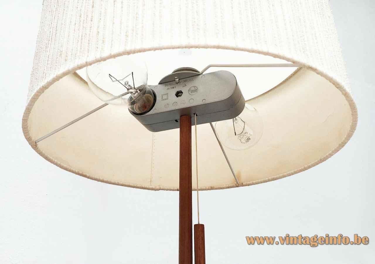 Temde teak table lamp wood rod fabric lampshade 1960s Germany 2 E27 sockets inside view