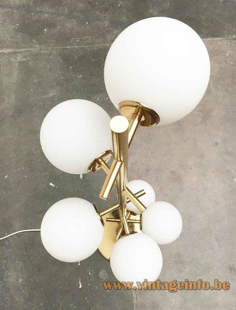 Temde white globes floor lamp round brass base & rods opal glass lampshades Switzerland 1960s 1970s