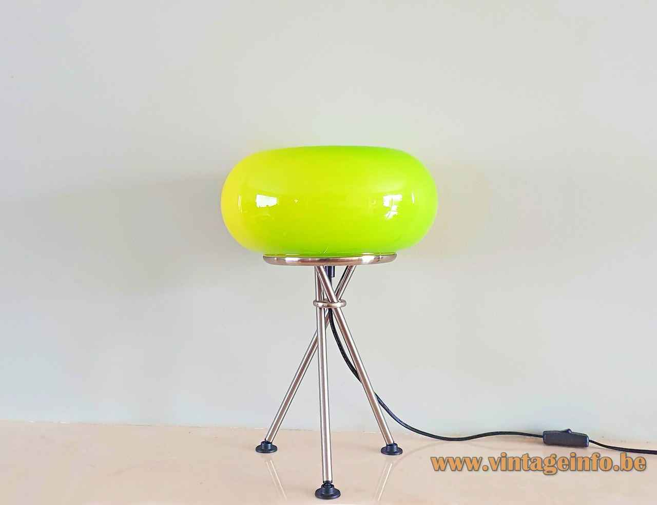 Trio Leuchten green glass table lamp Olympic chrome tripod base oval globe lampshade 1990s 2000s Germany
