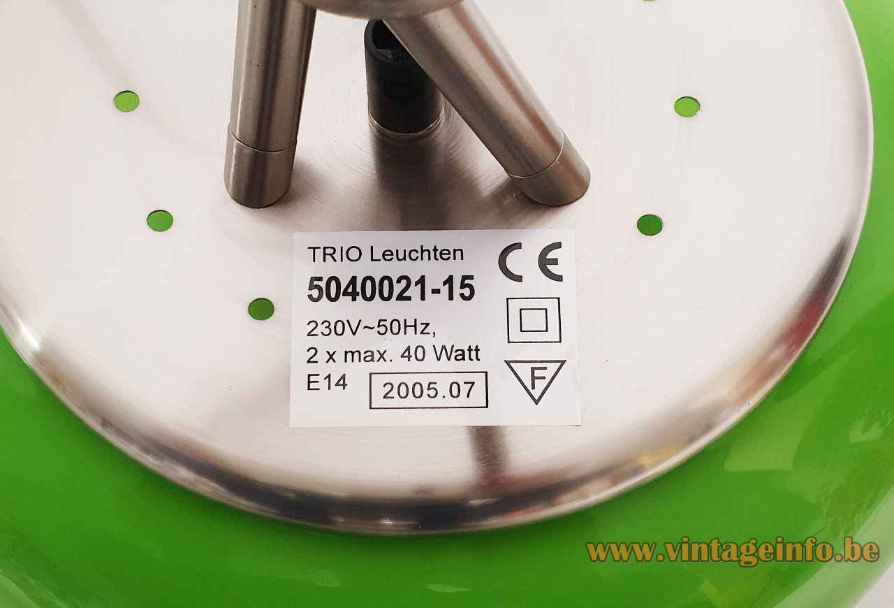 Trio Leuchten green glass table lamp Olympic label 1990s 2000s Germany
