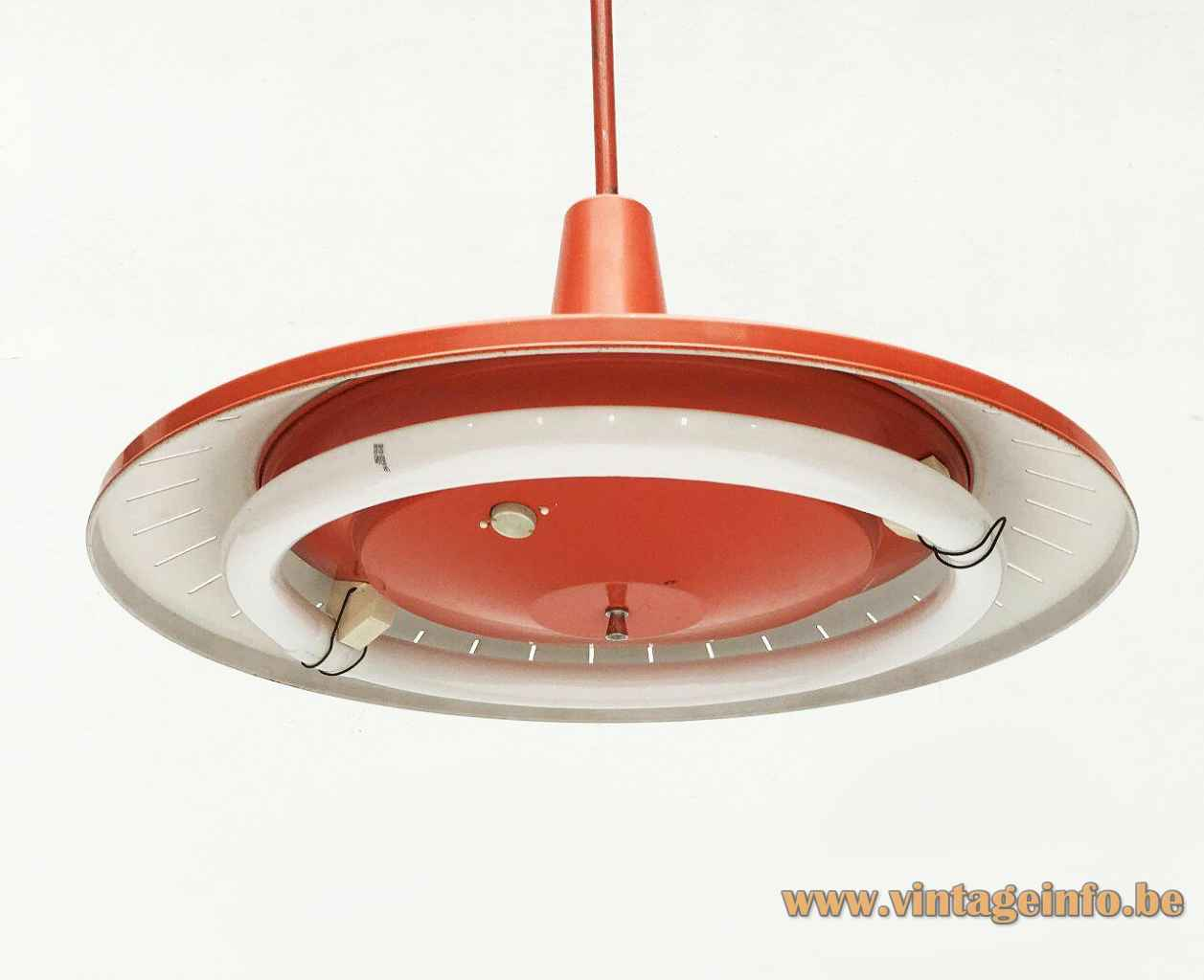 Van Haute orange pendant lamp round metal disc lampshade elongated slots circular fluorescent tube 1960s Belgium