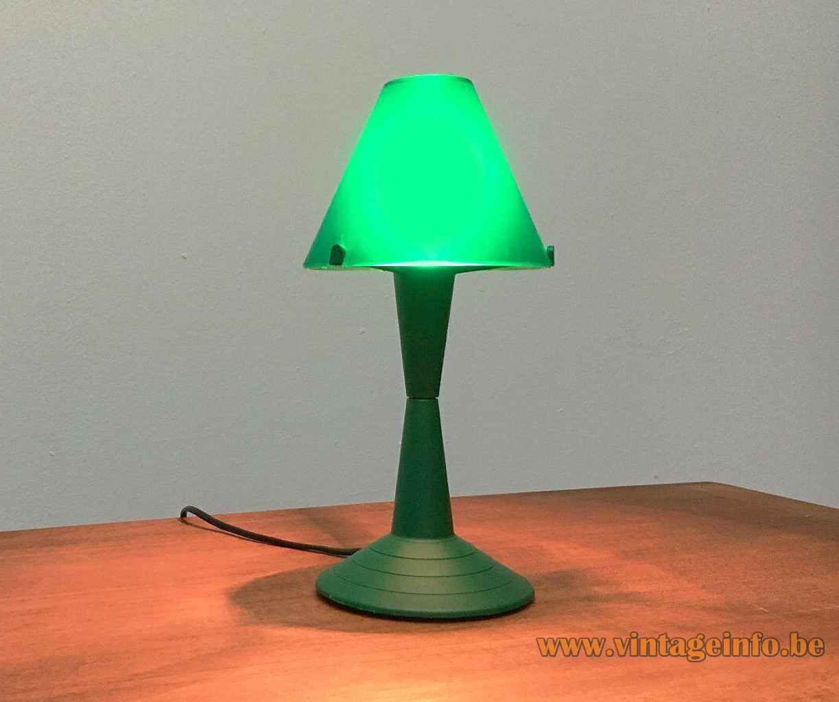 Veneta Lumi Lulu table lamp round green plastic base concave rod conical lampshade 1990s Italy