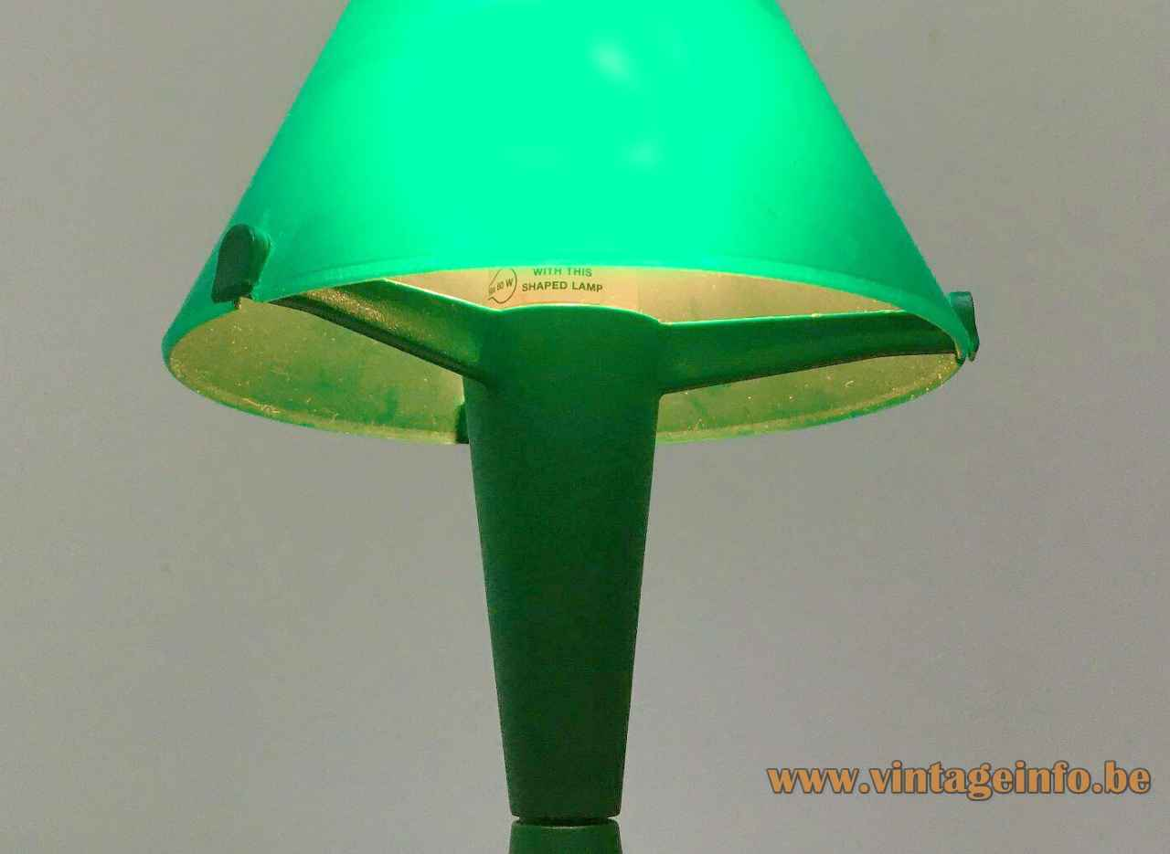 Veneta Lumi Lulu table lamp round green conical lampshade 1990s Italy E14 socket 60 Watt