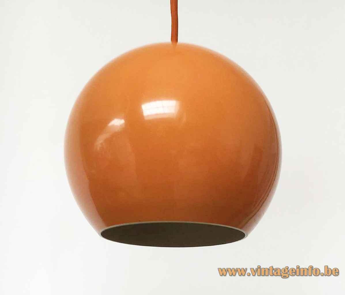 Verner Panton Topan pendant lamp orange aluminium globe lampshade 1959 design Louis Poulsen Denmark 1960s 1970s