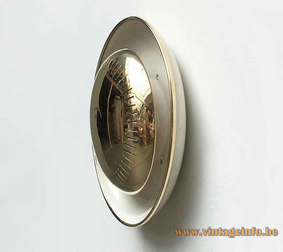 1950s round brass wall lamp perforated elongated slots disc lampshade 1960s Kaiser Leuchten Germany Hillebrand Staff