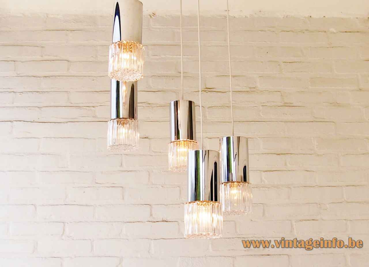 1970s cascading bubble glass chandelier 5 embossed lampshades thick chrome tubes E27 sockets 1960s East Germany