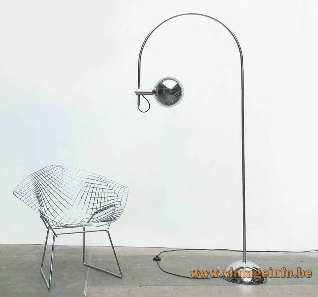 1970s Cosack arc floor lamp half round chrome base & rod adjustable globe lampshade Germany E27 socket