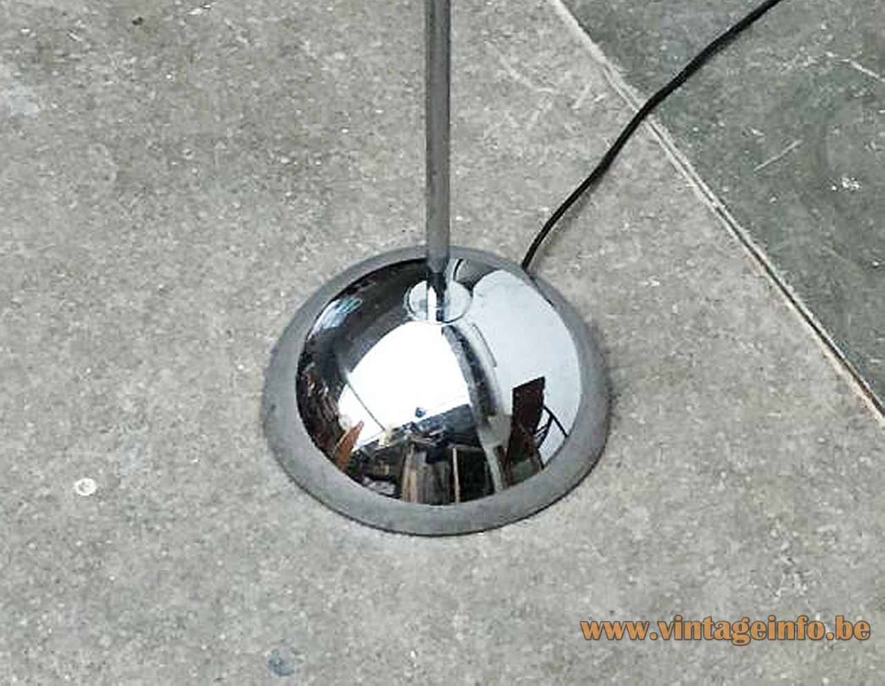 1970s Cosack arc floor lamp half round chrome base & rod Germany