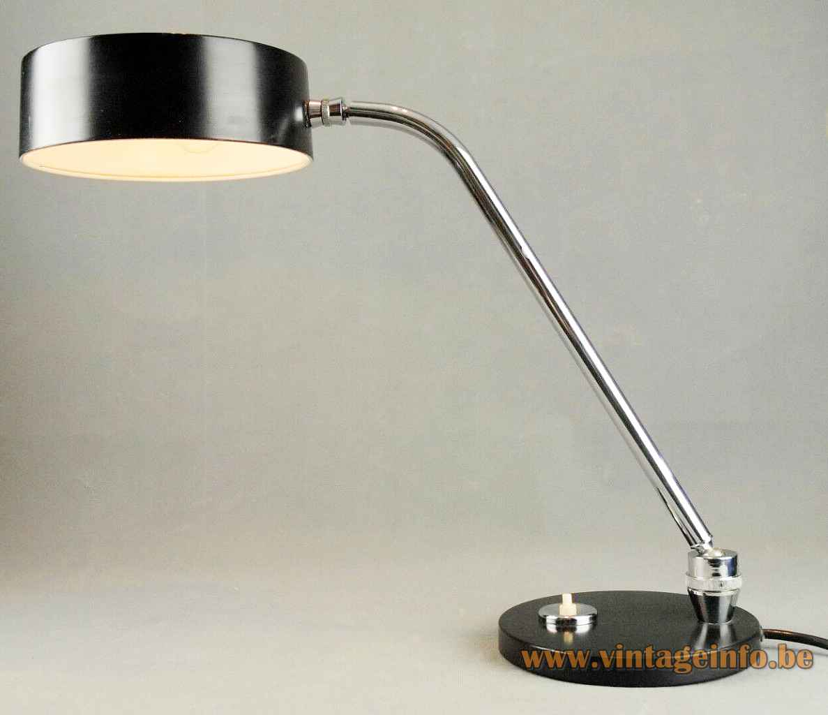 1980s JUMO desk lamp round & flat black metal base adjustable chrome rod disk style lampshade France