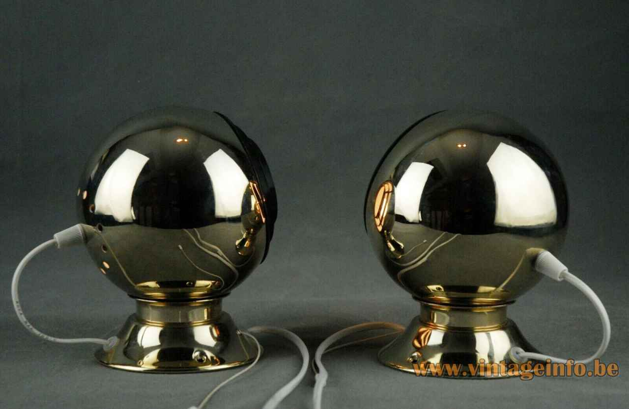 Abo Randers magnetic globe wall lamp adjustable gold-plated sphere lampshade black plastic grid diffuser 1980s Denmark