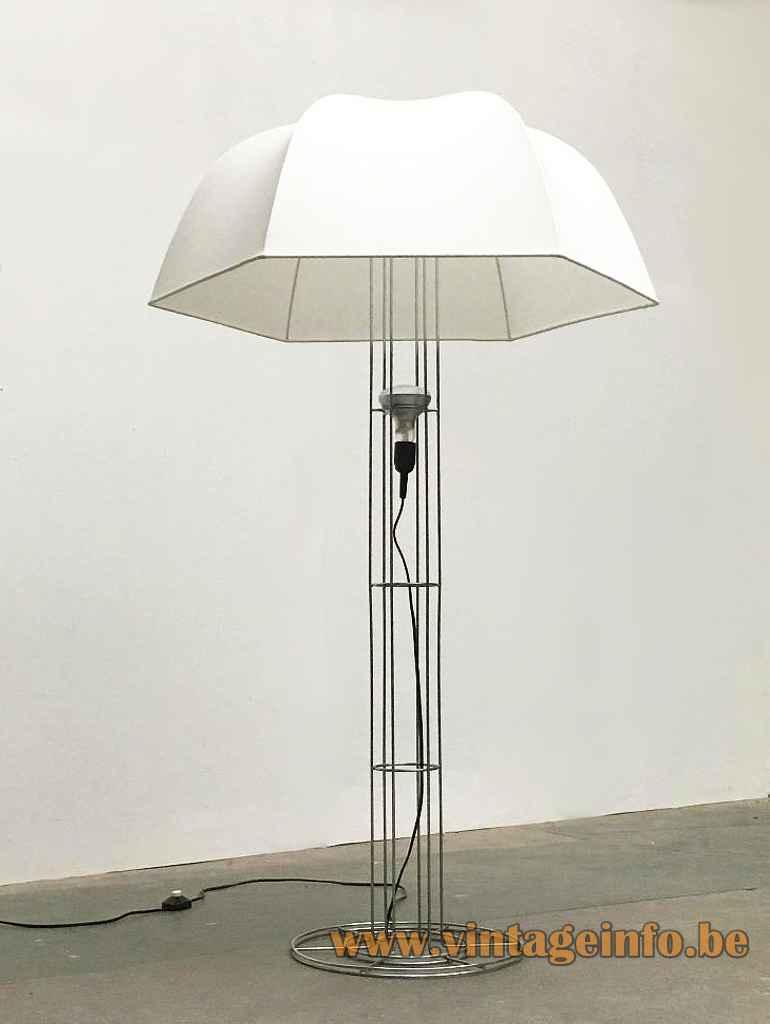 Artimeta Umbrella floor lamp chrome wire frame base white parasol lampshade design: Gijs Bakker 1970s