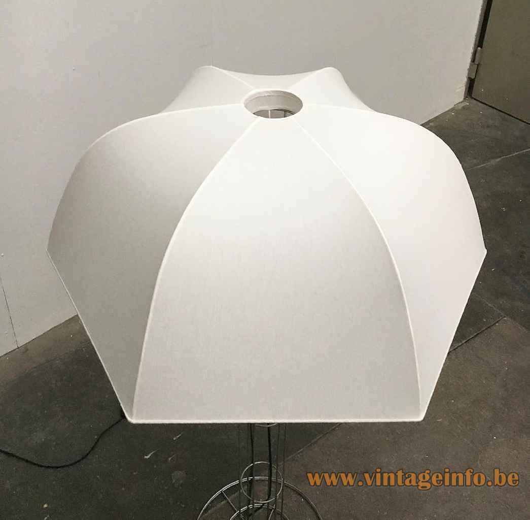 Artimeta Umbrella floor lamp chrome wire frame base white parasol lampshade design: Gijs Bakker top view