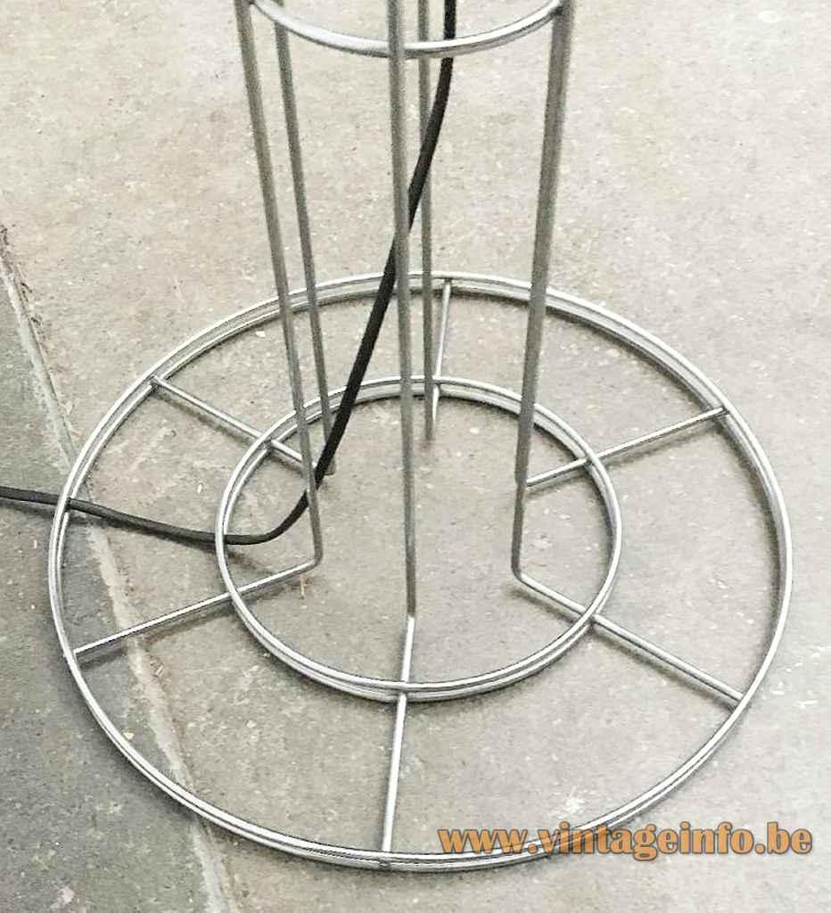 Artimeta Umbrella floor lamp round chrome wire frame base & rods design: Gijs Bakker 1970s Netherlands