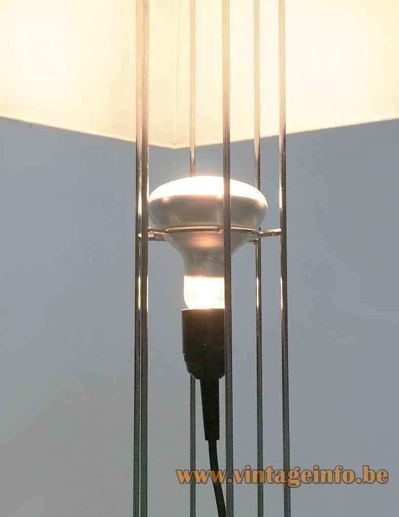 Artimeta Umbrella floor lamp chrome wire frame rods Bakelite E27 socket spotlight design: Gijs Bakker 1970s