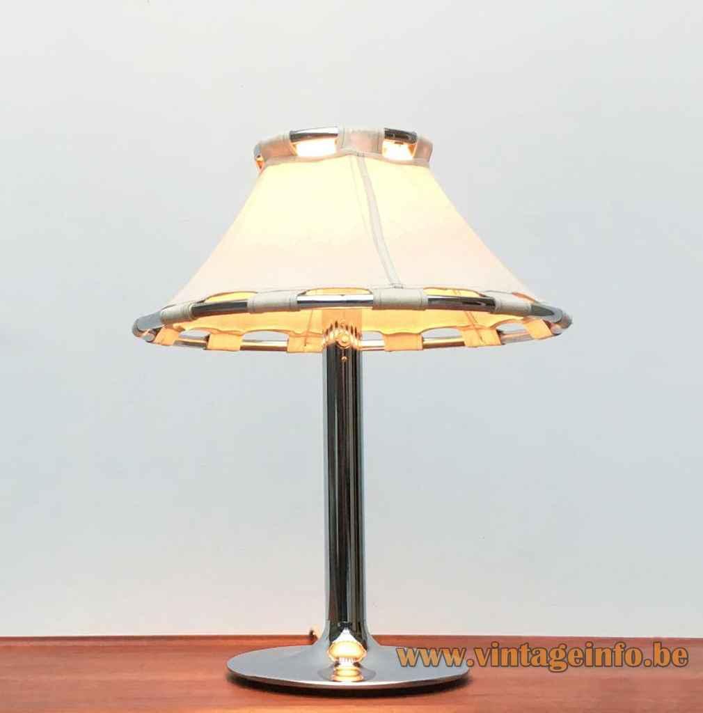 Ateljé Lyktan Anna table lamp round chrome base rod & rings fabric lampshade design: Anna Ehrner Sweden