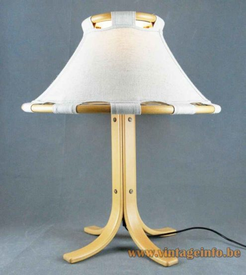 Ateljé Lyktan Anna table lamp wood base rod & rings fabric lampshade design: Anna Ehrner Sweden 1970s