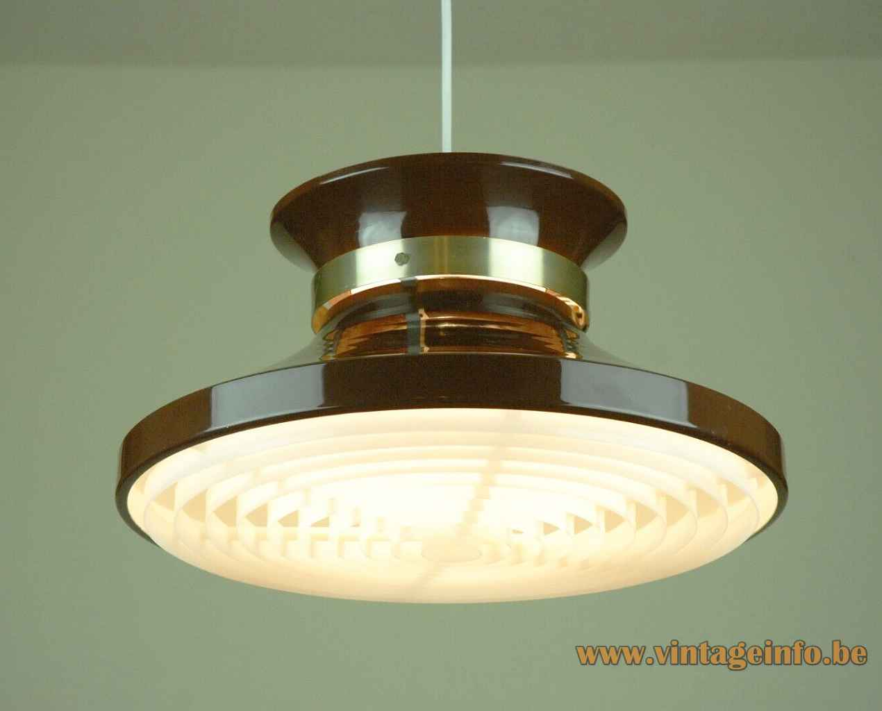 Carl Thore Granhaga pendant lamp brown aluminium lampshade brass collar white plastic grid diffuser 1960s 1970s Sweden