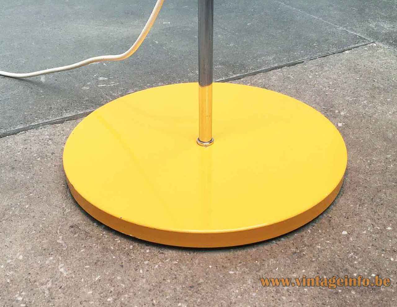 Edi Franz Swisslamps floor lamp round yellow painted metal base chrome rod 1950s 1960s Switzerland