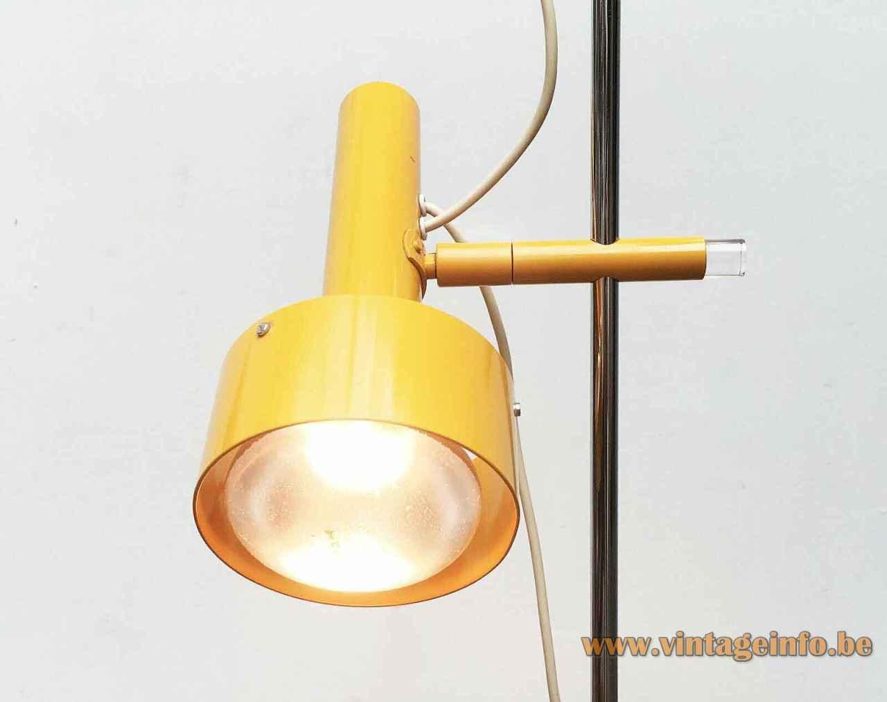 Edi Franz Swisslamps floor lamp adjustable round elongated yellow lampshades chrom rod 1950s 1960s Switzerland