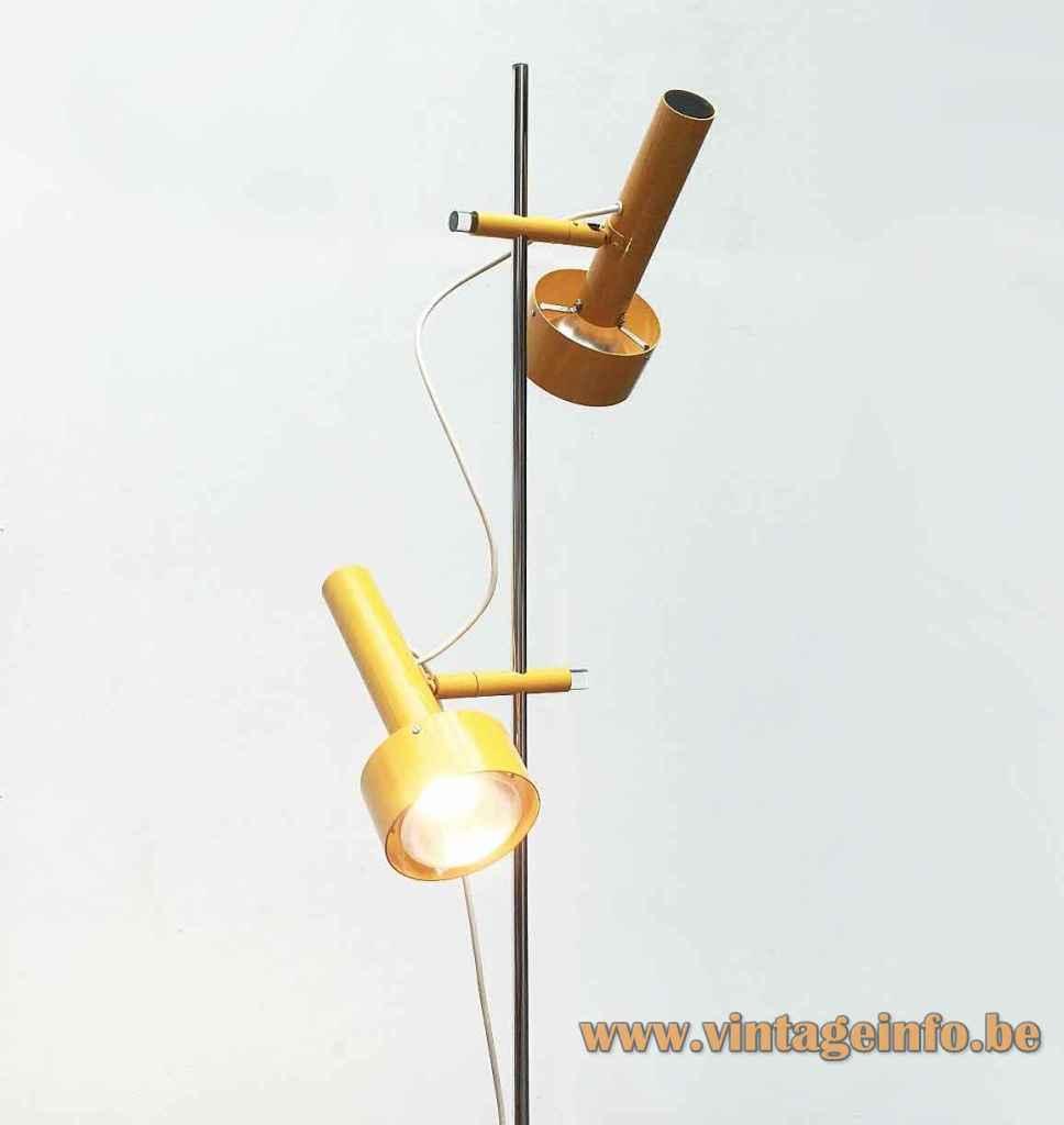 Edi Franz Swisslamps floor lamp round metal base chrome rod elongated yellow lampshades 1950s 1960s Switzerland