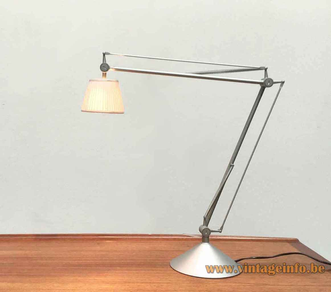 FLOS Archimoon Soft desk lamp conical grey metal base adjustable rods fabric lampshade Design: Philippe Starck