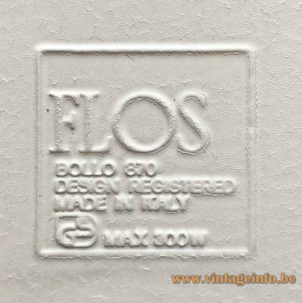FLOS Bollo wall lamp 870 logo label maximum 300 Watt 1970s design: Tobia Scarpa halogen Italy