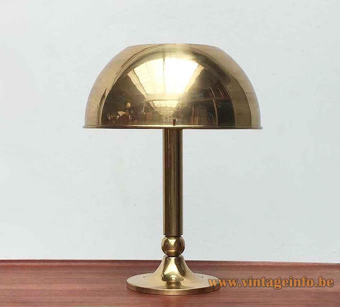 Florian Schultz brass table lamp round base & rod round mushroom lampshade 1970s 1980s Germany E27 socket