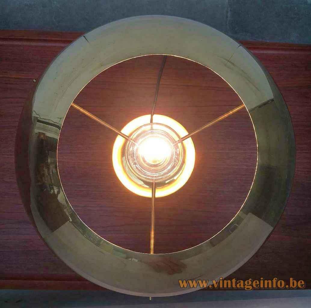 Florian Schultz brass table lamp top view round mushroom lampshade metal E27 socket 1970s 1980s Germany