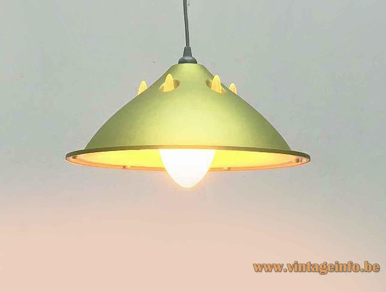 FLOS Light Lite pendant lamp silver green plastic lampshade translucent diffuser 1991 design Philippe Starck Italy