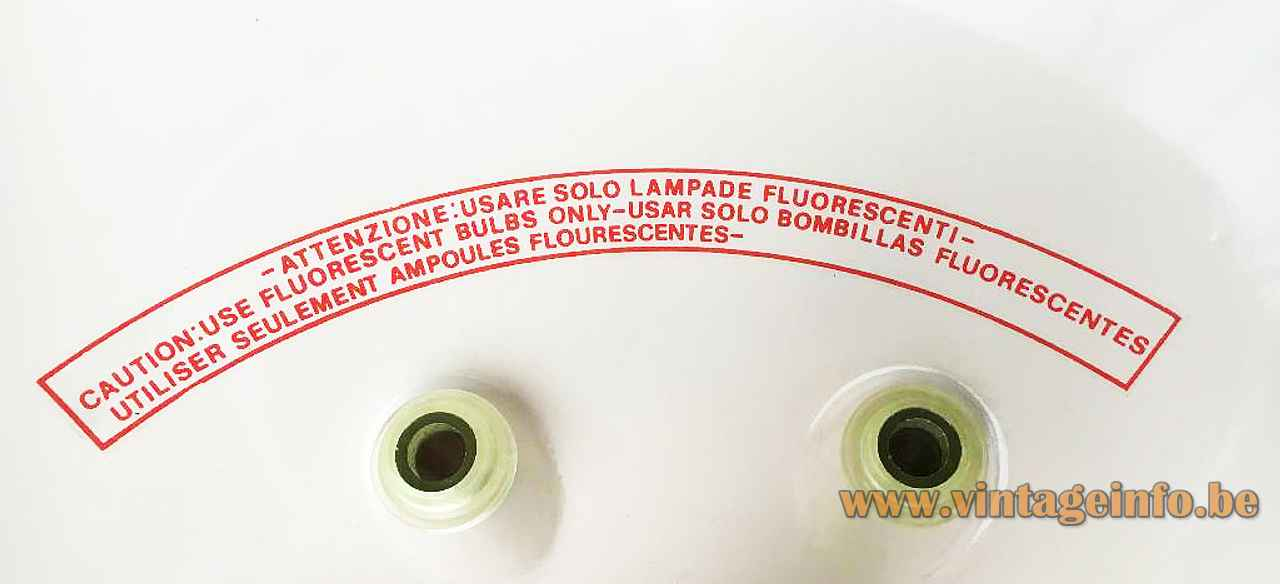 FLOS Light Lite pendant lamp 1991 design Philippe Starck Italy warning label: fluorescent lamp only