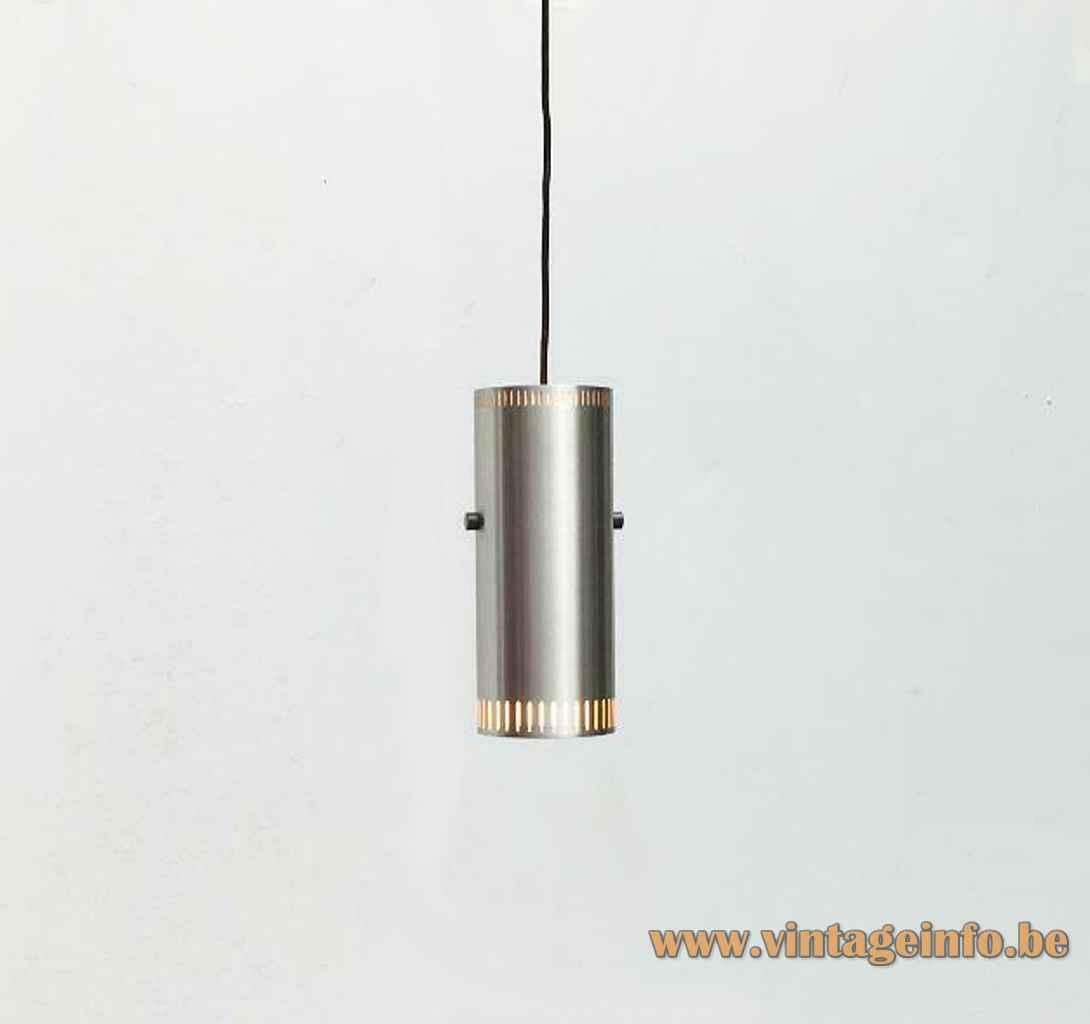 Fog & Mørup Cylinder I pendant lamp aluminium tube lampshade 1960s design: Jo Hammerborg Denmark E27 socket