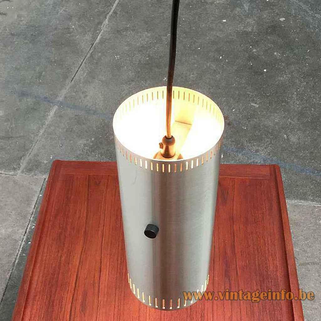 Fog & Mørup Cylinder I pendant lamp aluminium tube lampshade elongated slots top view design: Jo Hammerborg
