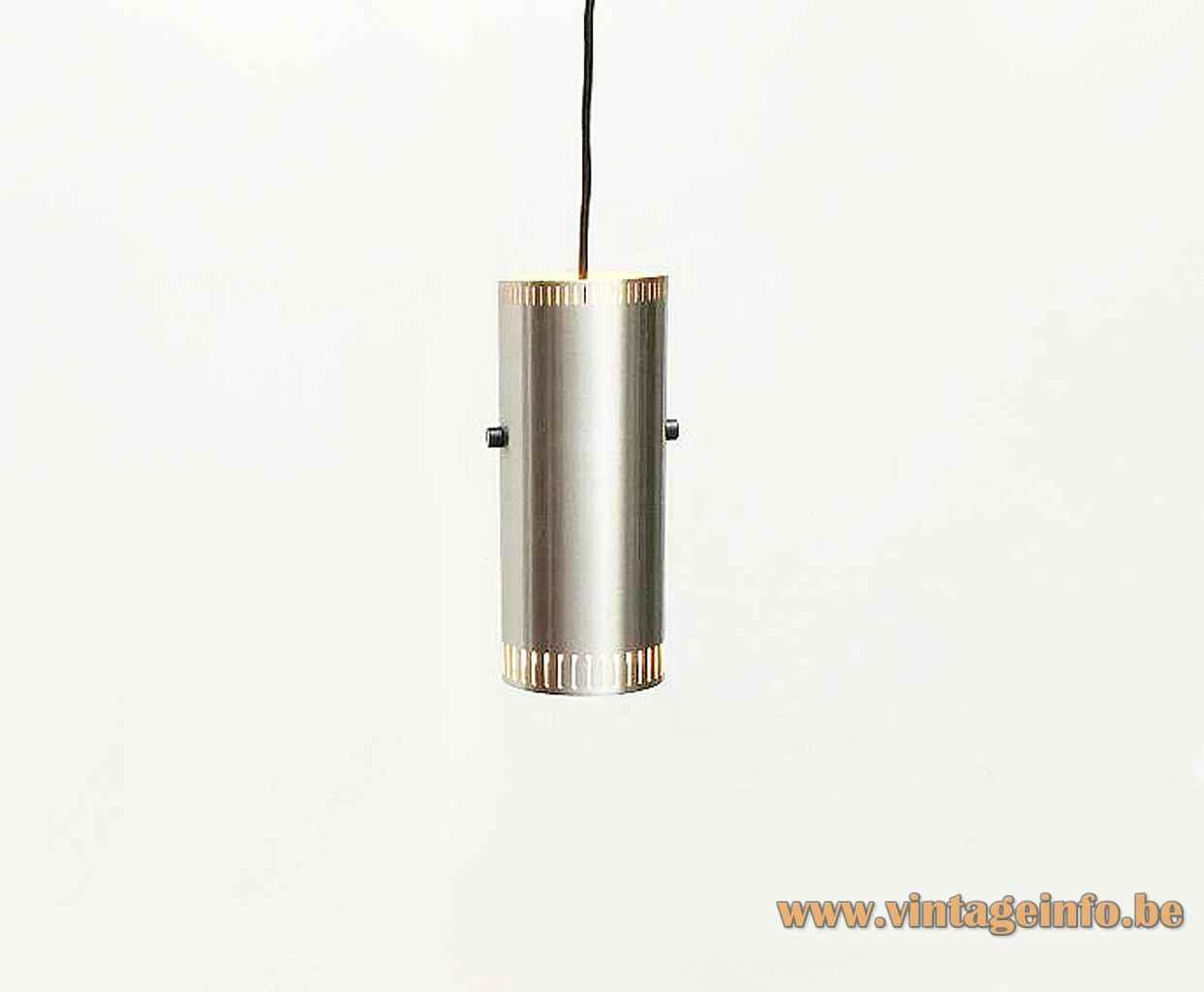 Fog & Mørup Cylinder I pendant lamp aluminium tube lampshade elongated slots 1960s design: Jo Hammerborg Denmark