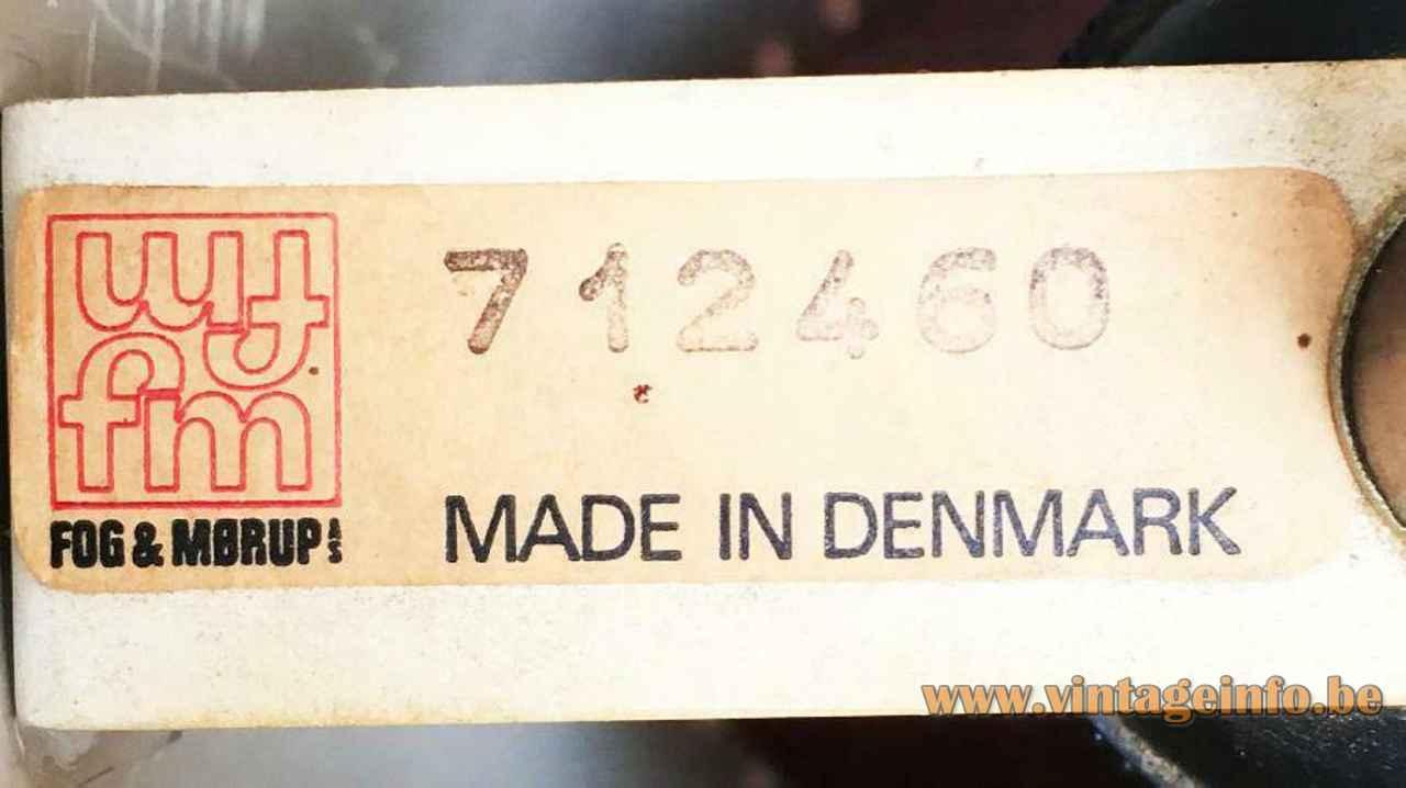 Fog & Mørup Cylinder I pendant lamp paper label logo 712460 1960s design: Jo Hammerborg Denmark