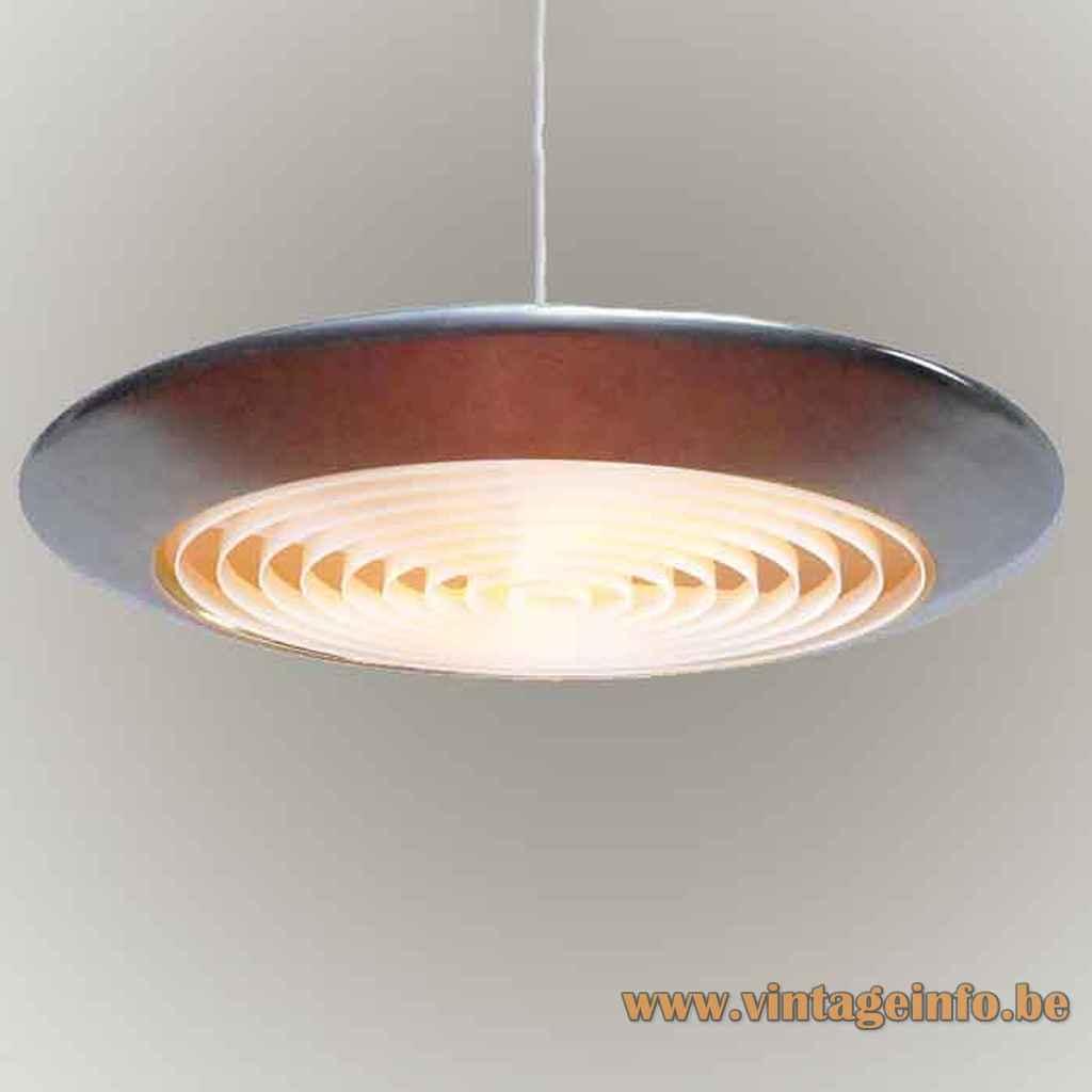 Fog & Mørup Diskos pendant lamp aluminium disc lampshade plastic grid diffuser design: Jo Hammerborg 1960s Denmark